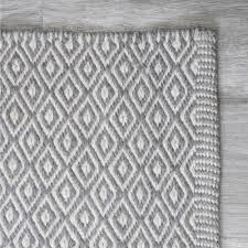 White Grey Rug Diamond Wool Rug 5 U0027 X 8 U0027 Grey