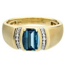 gents ring finger men s barrel cut blue topaz diamond custom finger yellow