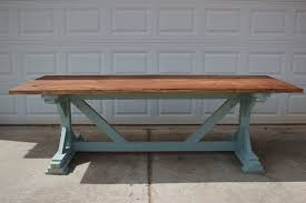 trestle base dining table trestle base dining table with stained top by southernrestoration