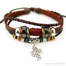 cross bracelet charm images Handmade cord bracelet charm metal wood beads leather straps cross jpg
