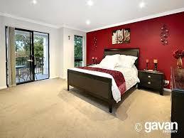 Bedroom Design Idea With Carpet  Sliding Doors Using Cream - Red and cream bedroom designs