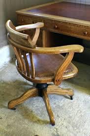 oak desk chair antique vintage wood swivel office old