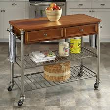 Mobile Kitchen Island Butcher Block by Home Styles Orleans Wire Rack Kitchen Island With Caramel Butcher