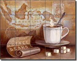 ceramic tile mural backsplash kasun kitchen coffee traditional