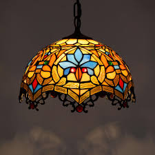 tiffany glass pendant lights retro colorful tiffany lamp stained glass pendant lamp western