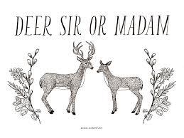 deer sir madam mini print frida clements