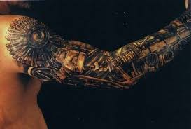 a steampunk tattoo design that creates the illusion that the guys