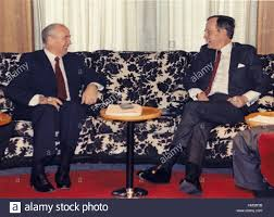 united states president george h w bush right and general stock