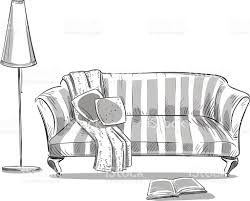 Living Room Clipart Black And White Hand Drawn Interior Element Comfortable Sofa And A Lamp Stock
