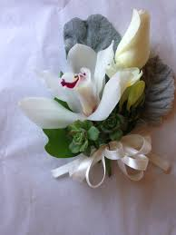 White Orchid Corsage Corsage With Orchids Freesia A Rose And Succulents In Los