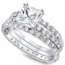diamond rings zirconia images Valeria 39 s sterling silver princess cut triple band cubic zirconia jpg
