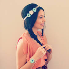style boheme chic headband mariage baptème cérémonie à fleurs bleu turquoise argent