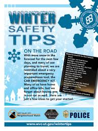 Utah emergency travel document images Winter safety tips west valley city ut official site
