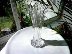 Sasaki Crystal Vase Sasaki Crystal Bamboo Pattern Clear Contemporary Footed Vase