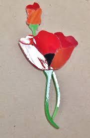 Garden Stone Craft - precut stained glass art poppy flower kit mosaic inlay craft