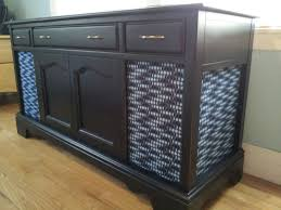 Record Player Cabinet Plans Refurbished Old Stereo Console Spray Adhesive To Attach Fabric To