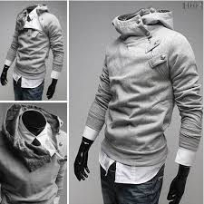 stylish trendy leisure sport high collar funky light gray mens