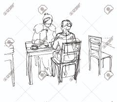 black and white vector sketch of two friends in a cafe at a table
