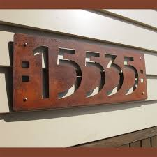 custom mission style house 5 numbers in rusted steel