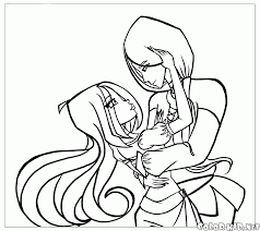 coloring page flora and helia