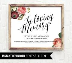 wedding signs template editable wedding sign in loving memory pdf template instant