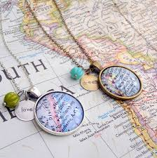 World Map Necklace by Personalised Location Map Pendant Necklace By Evy Designs