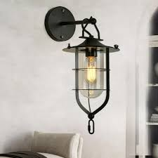 Nautical Wall Sconce Vintage Nautical Style 1 Light Metal Wall Sconce With Cage In