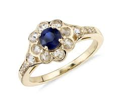 white and black diamond engagement rings sapphire and diamond halo cut floral ring in 18k yellow gold