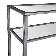 Glass And Metal Sofa Table Amazon Com Southern Enterprises Glass Media Console Table Silver