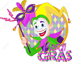 mardi gras joker design of mardi gras jester holding a mask royalty free