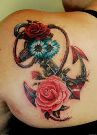 anchor with roses and daisies