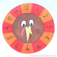 telling time with a turkey clock creative family