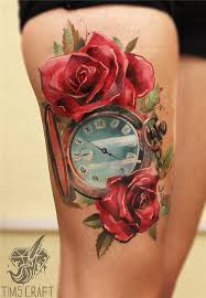 red rose thigh tattoo for women in 2017 real photo pictures