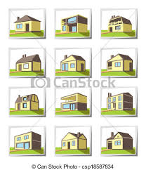 Different Styles Of Houses Vectors Of Various Types Of Houses Vector Illustration