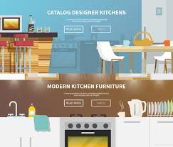 kitchen furniture banner stock vector image 53120552
