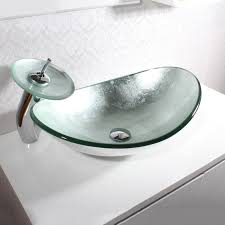 Boat Faucets And Sinks Silver Oval Boat Shaped Tempered Glass Vessel Sink U0026 Faucet Set