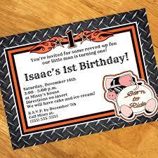 biker 1st birthday personalized invitations
