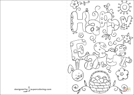 happy easter doodle card coloring free printable coloring pages