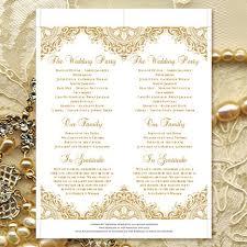 50th wedding anniversary program wedding ceremony program template vintage gold