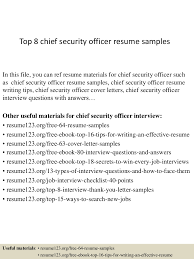 resume format for security guard top8chiefsecurityofficerresumesamples 150408083512 conversion gate01 thumbnail 4 jpg cb 1428500164