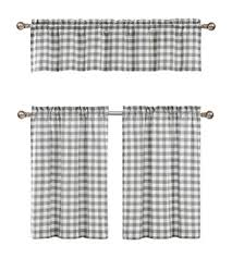 Checkered Kitchen Curtains Grey White Kitchen Curtains Checkered Plaid Gingham
