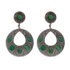 emerald drop sterling silver diamond emerald drop earrings h l gross