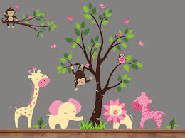 decoration ideas fascinating image of decorative pink animal fetching home interior wall decor with jungle tree wall decals endearing image of kid bedroom
