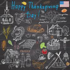 thanksgiving chalkboard art thanksgiving doodles set traditional symbols sketch collection