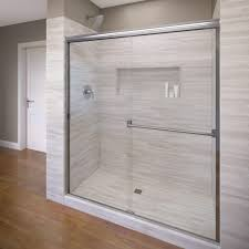 Shower Doors Basco Basco Classic 60 In X 70 In Semi Frameless Sliding Shower Door