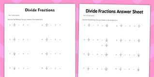 year 6 divide fractions activity sheet maths ks2 upper key