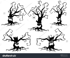 black and white halloween background silhouette set five black silhouettes irate angry stock vector 483294823