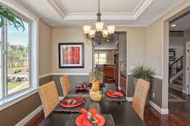 tray ceilings and two tone paint on the walls adds a touch of