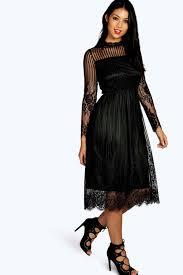 lucia lace high neck midi dress boohoo