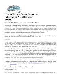 how to write a query letter to a publisher or agent for your book